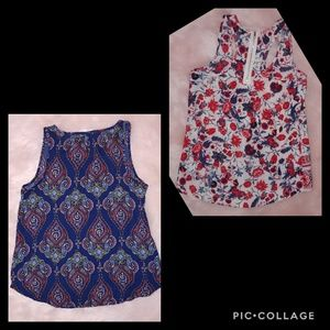 Xhilaration Tops - Xhilaration floral zip up back top & bonus top
